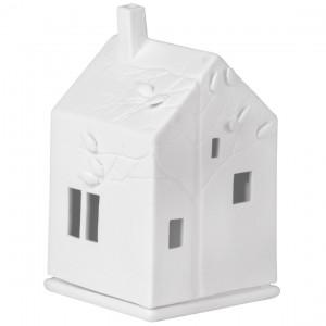 photophore maison feuilles porcelaine
